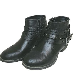 Vintage 7 Eight Black Moto Style Ankle Boots